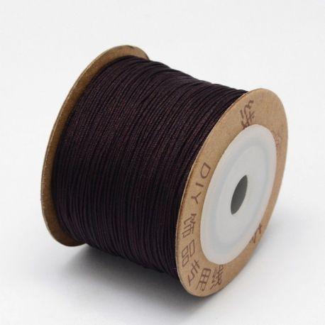 Sintetinis nailoninis siūlas virvutė skirta papuošalų, rankdarbių gamyboje, blizgi, tamsiai rudos spalvos 0.80 mm storio, 1 metr