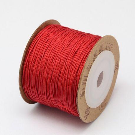 Sintetinis nailoninis siūlas virvutė skirta papuošalų, rankdarbių gamyboje, blizgi, raudonos spalvos 0.80 mm storio, 1 metras