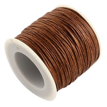 Vaškuota medvilninė rankdarbių virvutė, rudos spalvos 1.00 mm