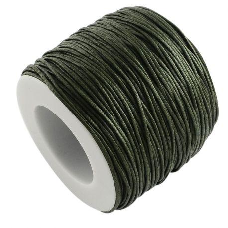 Vaškuota medvilninė rankdarbių virvutė, tamsiai žalios - chaki spalvos 1.00 mm