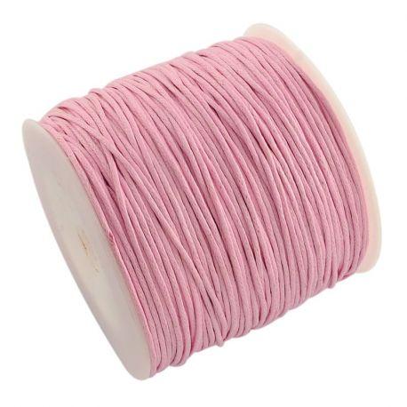Vaškuota medvilninė rankdarbių virvutė, rožinės spalvos 1.00 mm