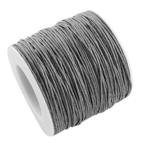Vaškuota medvilninė rankdarbių virvutė, pilkos spalvos 1.00 mm