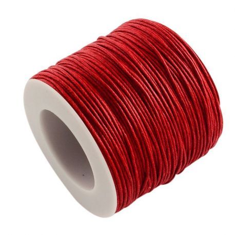 Vaškuota medvilninė virvelė, raudonos spalvos 1.00 mm