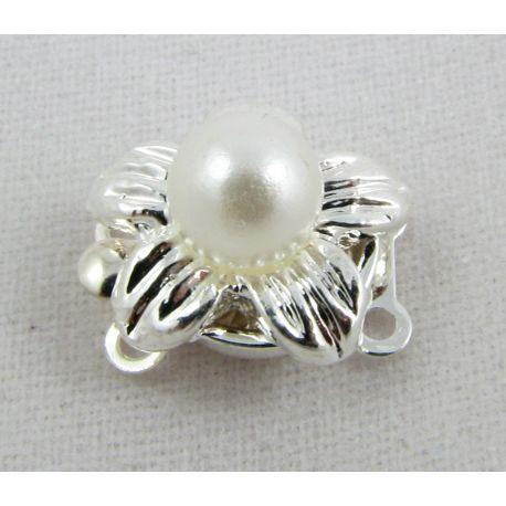 Vėrinio užsegimas su perliuku sidabro spalvos gėlytės formos 11x12x10 mm