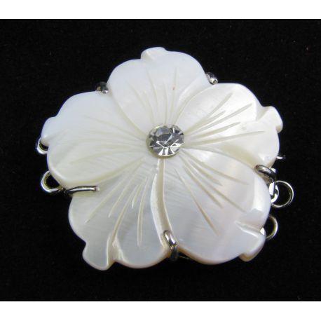 Vėrinio užsegimas su SHELL perlų masės gėlyte sidabro spalvos trijų eilių užsegimas 32x32x8 mm