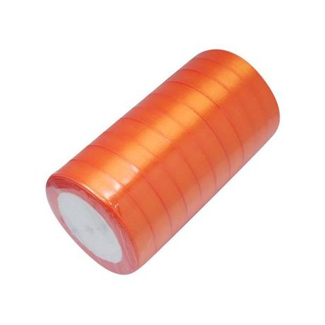 Satino juostelė, sodrios oranžinės spalvos, 16 mm pločio, 22 metrai