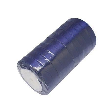 Satino juostelė rankdarbiams, papuošalams, tamsiai mėlynos spalvos, 16 mm pločio, ritėje 22 metrai