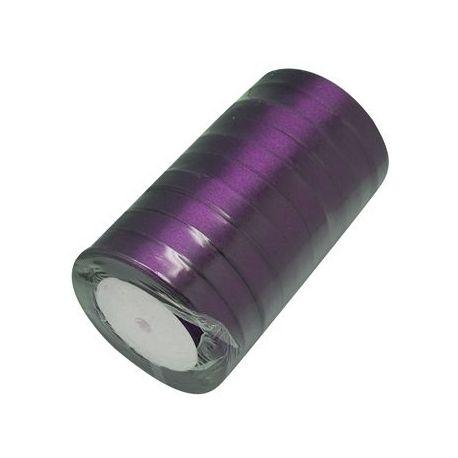 Satino juostelė rankdarbiams, papuošalams, violetinės spalvos, 12 mm pločio, ritėje 22 metrai