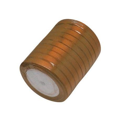 Satino juostelė rankdarbiams, papuošalams, šviesios rudos spalvos, 7 mm pločio, ritėje 22 metrai