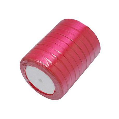 Satino juostelė rankdarbiams, papuošalams, ryškios rožinės spalvos, 7 mm pločio, ritėje 22 metrai