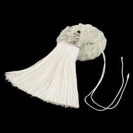 Poliesterio kutas rankdarbiams, baltos spalvos su kepurėle, 80x20 mm, 1 vnt.