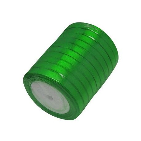 Satino juostelė rankdarbiams, papuošalams, žalios spalvos, 6 mm pločio, ritėje 22 metrai