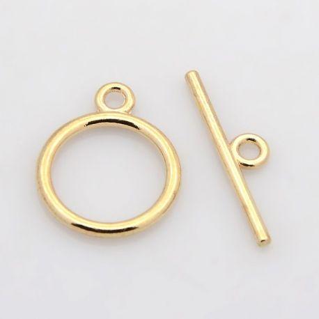 Užsegimas su lazdele, rausvos aukso spalvos 15 mm, 1 rink