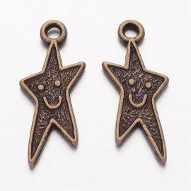 """Pakabukas """"Linksmoji žvaigždutė"""", sendintos bronzinės spalvos, 22mm"""