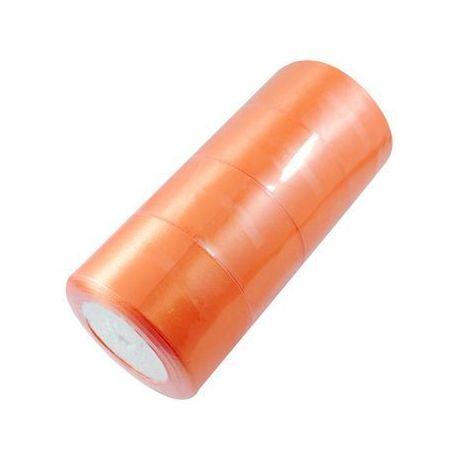 Satino juostelė rankdarbiams, papuošalams, suvenyrams, žaislams, verslo dovanoms ryškiai oranžinės spalvos, 50 mm pločio, ritėje