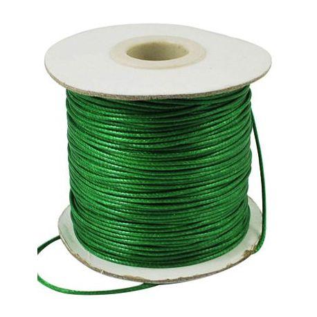 Vaškuota poliesterio rankdarbių virvutė, papuošalams, suvenyrams, žaislams, verslo dovanoms žalios spalvos, 1 mm storio