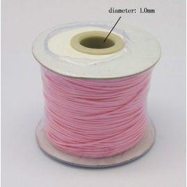 Vaškuota poliesterio virvelė, šviesios rožinės spalvos 1.00 mm