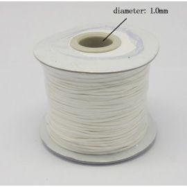 Vaškuota poliesterio virvelė, baltos spalvos 1.00 mm
