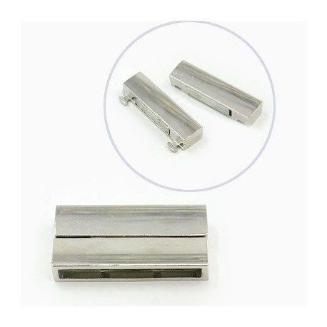 Magnetinis užsegimas skirtas biserio vėriniui, apyrankei, rankdarbių gamyboje, suvenyrams, platinos spalvos 38x19 mm, 1 vnt.