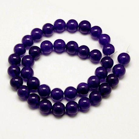 Malaizijos nefrito karoliukų gija, rankdarbiams, suvenyrams, papuošalams gaminti violetinės spalvos, apvalios formos, dydis apie