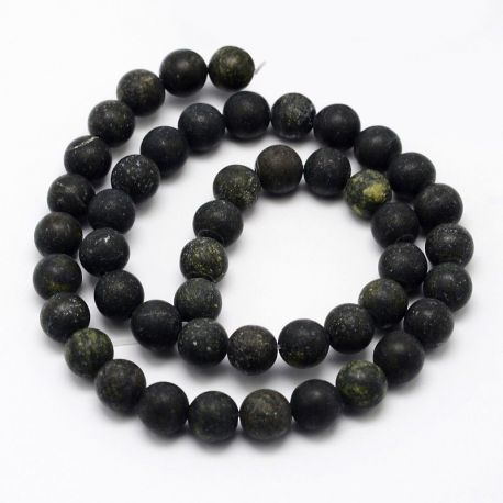 Akmeninių karoliukų gija, rankdarbiams, suvenyrams, papuošalams gaminti tamsiai žalios spalvos, matiniai, apvalios formos, dydis