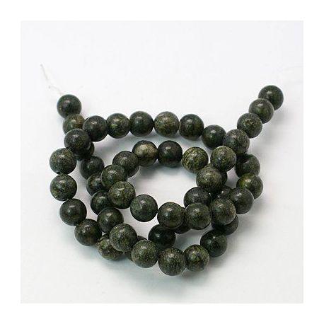 Akmeninių karoliukų gija, rankdarbiams, suvenyrams, papuošalams gaminti tamsiai žalios spalvos, apvalios formos, dydis apie 4 mm