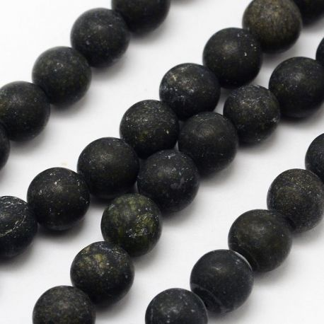 Akmeninių karoliukų gija, rankdarbiams, suvenyrams, papuošalams gaminti, tamsiai žalios spalvos, matiniai, apvalios formos, dydi