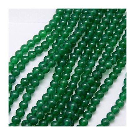Agato karoliukų gija, žalios spalvos, dydis 6 mm