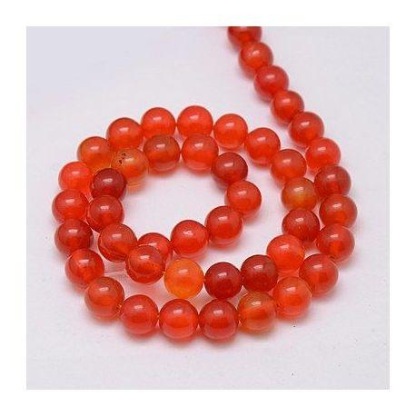 Agato karoliukų gija, rankdarbiams, suvenyrams, papuošalams gaminti raudonai oranžinės spalvos, apvalios formos, dydis apie 8 mm