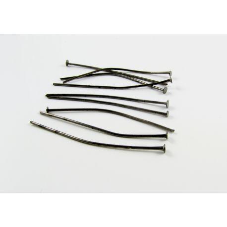 Smeigtukai skirti papuošalų gamybai juodos spalvos plokščia galvute 40mm