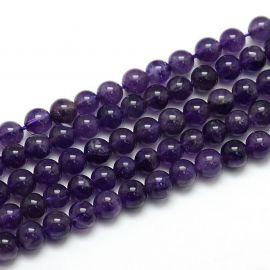 Ametisto akmeninių karoliukų gija, rankdarbiams, suvenyrams, papuošalams gaminti, žvioletinės spalvos, apvalios formos, dydis ap