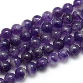 Ametisto akmeninių karoliukų gija, rankdarbiams, suvenyrams, papuošalams gaminti, violetinės spalvos, apvalios formos, dydis api