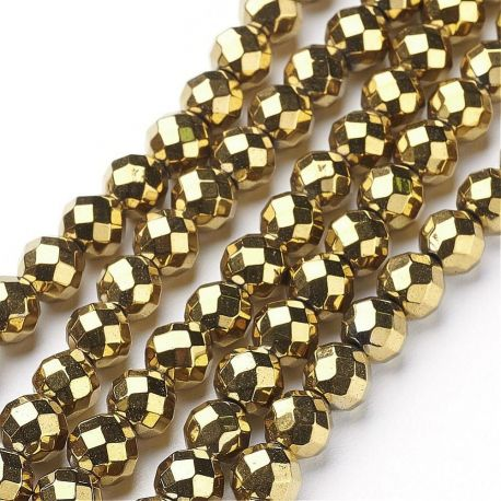 Sintetinio hematito akmeniniai karoliukai, rankdarbiams, suvenyrams, papuošalams gaminti, aukso spalvos, apvalios formos, dydis