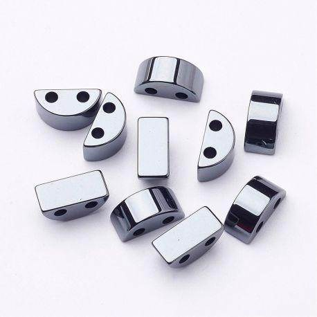 Sintetinio hematito akmeniniai karoliukai, rankdarbiams, suvenyrams, papuošalams gaminti, tamisia sidabro spalvos, mėnulio formo
