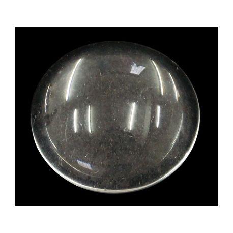 Stiklinis kabošonas puikiai tinka papuošalų, suvenyrų gamybai, skaidrūs, apvalios formos, dydis 20x6mm, 1 vnt