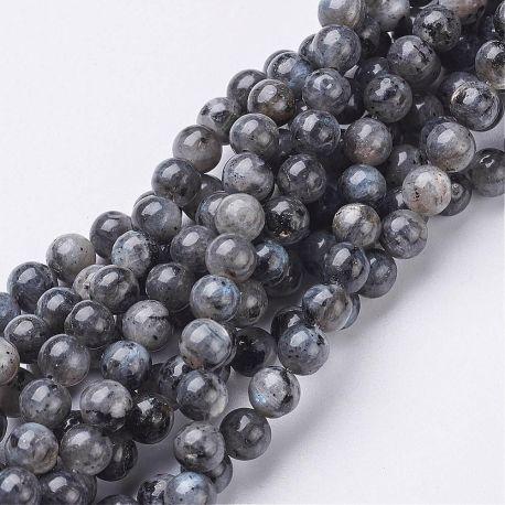 Natūralūs Labradorito akmeninių karoliukų gija, rankdarbiams, suvenyrams, papuošalams gaminti, juodos-pilkos spalvos, apvalios f