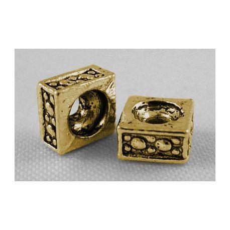Intarpas skirtas papuošalų, rankdarbių, suvenyrų gamybai, sendintos aukso spalvos, dydis 5x5 mm, 10 vnt