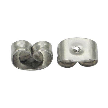 Auskarų fiksatorius skirtas auskarų gamybai metalinis nikelio spalvos 4,5x6x3mm