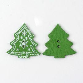 Dekoratyvinė medinė saga, skirta papuošimams, dekoracijoms, suvenyrams, dovanoms, rubams. Žalios rudos spalvos, 2 skylių, 30x30