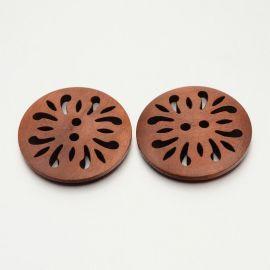 Medinė saga, rudos spalvos, 2 skylių, dydis 30 mm, 1 vnt.
