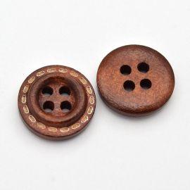 Medinė saga, rudos spalvos, 4 skylių, dydis 16 mm, 1 vnt.