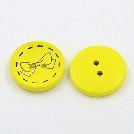 Medinė saga, geltonos spalvos, 2 skylių, dydis 28 mm, 1 vnt.