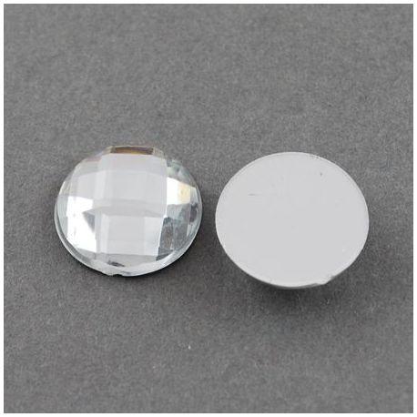 Akrilinis kabošonas, skaidrus dengtas folija, briaunuotas, monetos formos 16 mm, 1 vnt.