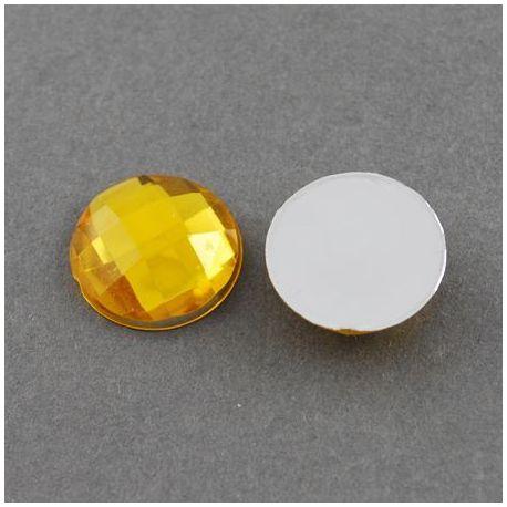 Akrilinis kabošonas, geltonos spalvos, nugarėlė dengtas folija, briaunuotas, monetos formos 16 mm, 1 vnt.