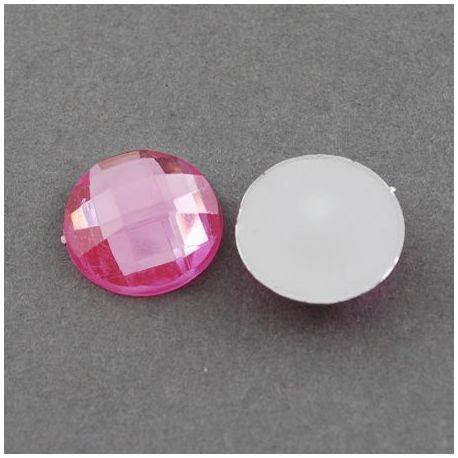 Akrilinis kabošonas, rožinės spalvos, nugarėlė dengtas folija, briaunuotas, monetos formos 16 mm, 1 vnt.
