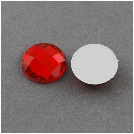 Akrilinis kabošonas, raudonos spalvos, nugarėlė dengta folija, briaunuotas, monetos formos 16 mm, 1 vnt.