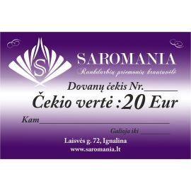Dovanų čekis 20 Eur vertės