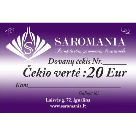 Dovanų čekis, kurio vertė 20 eur apsirkti elektroninėje partuotuvėje