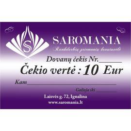 Dovanų čekis, kurio vertė 10 eur apsirkti elektroninėje partuotuvėje