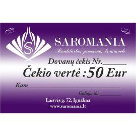 Dovanų čekis, kurio vertė 50 eur apsirkti elektroninėje partuotuvėje